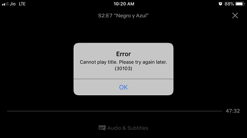 fix Netflix Error 30103