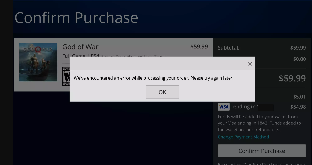 fix we've encountered an error while processing your order. please try again later.